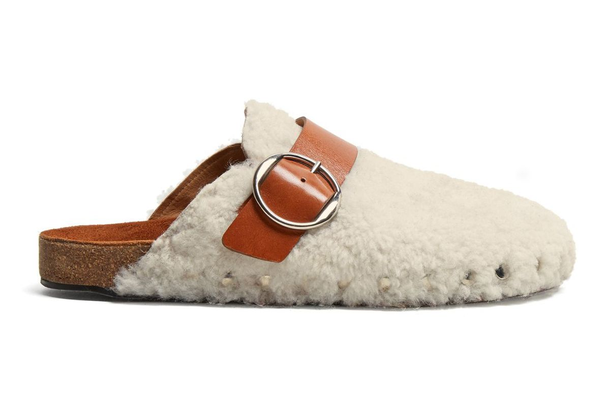 isabel marant mirvin shearling and leather backless clogs