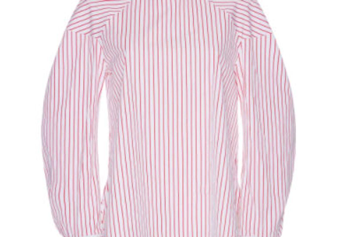 Pinstripe Bow-Embellished Shirt