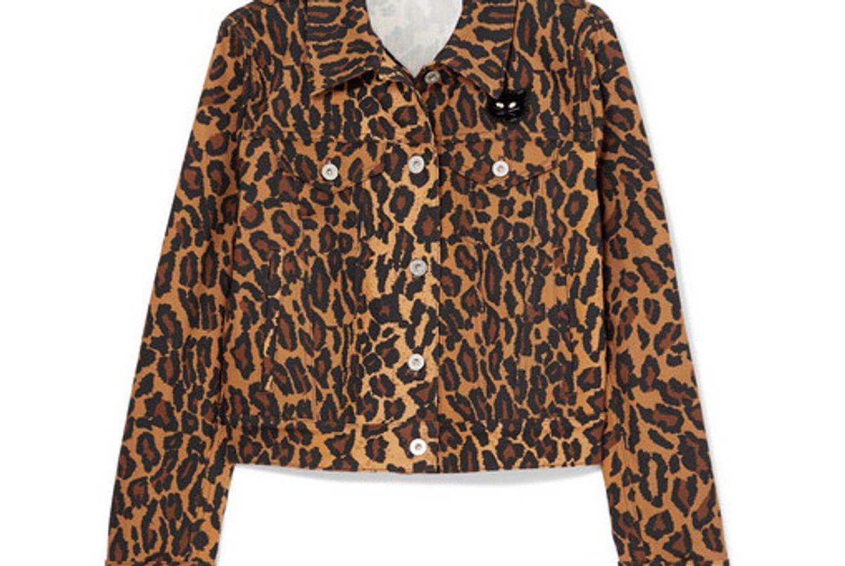 miu miu cropped leopard print denim jacket