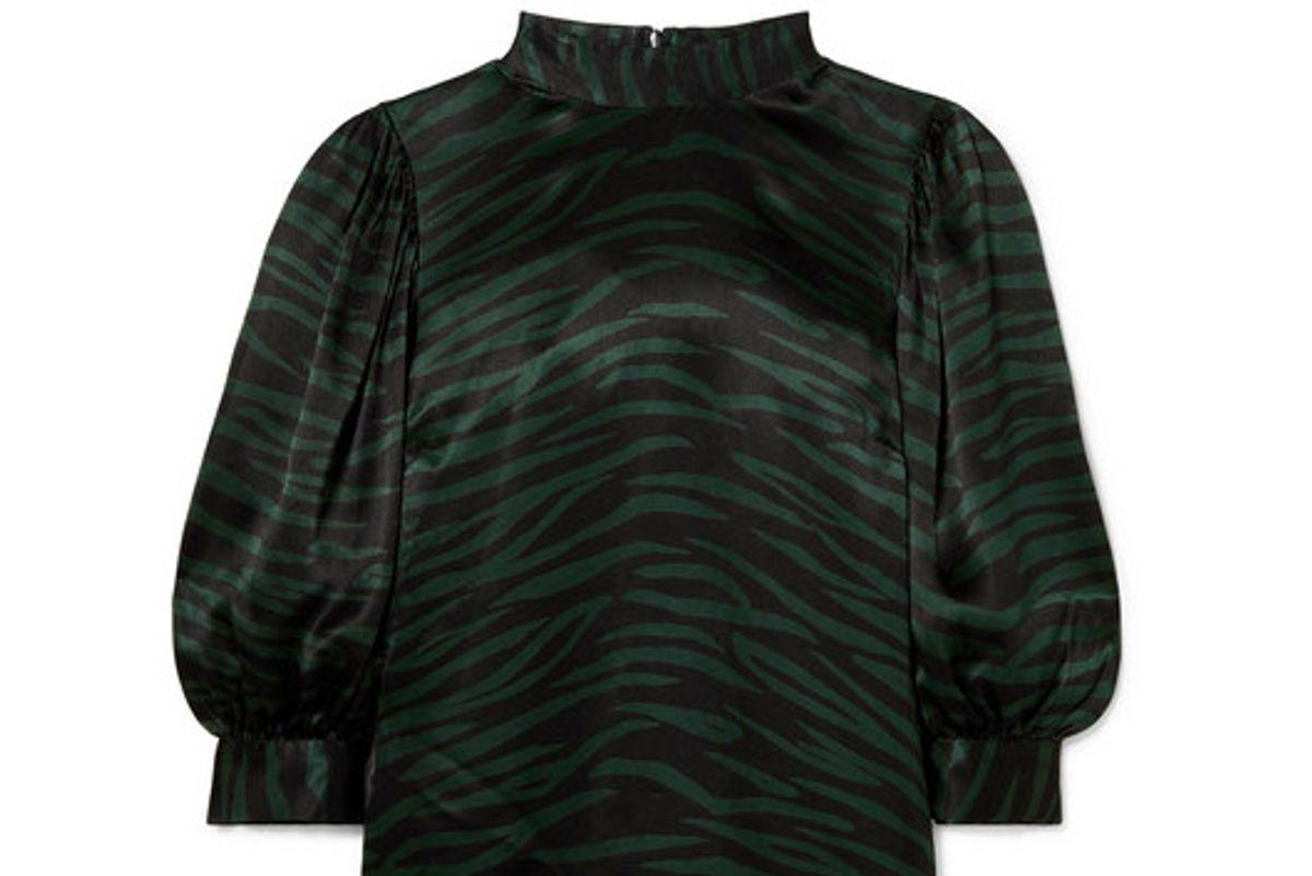 ganni cameron printed satin blouse