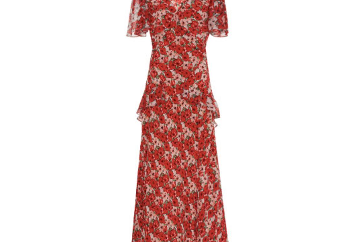 rixo london evie printed silk chiffon midi dress