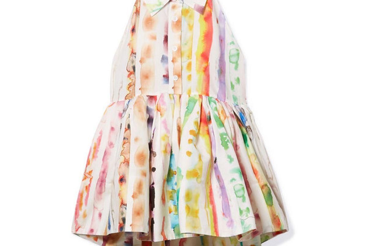 open back tie dyed cotton blend poplin peplum top