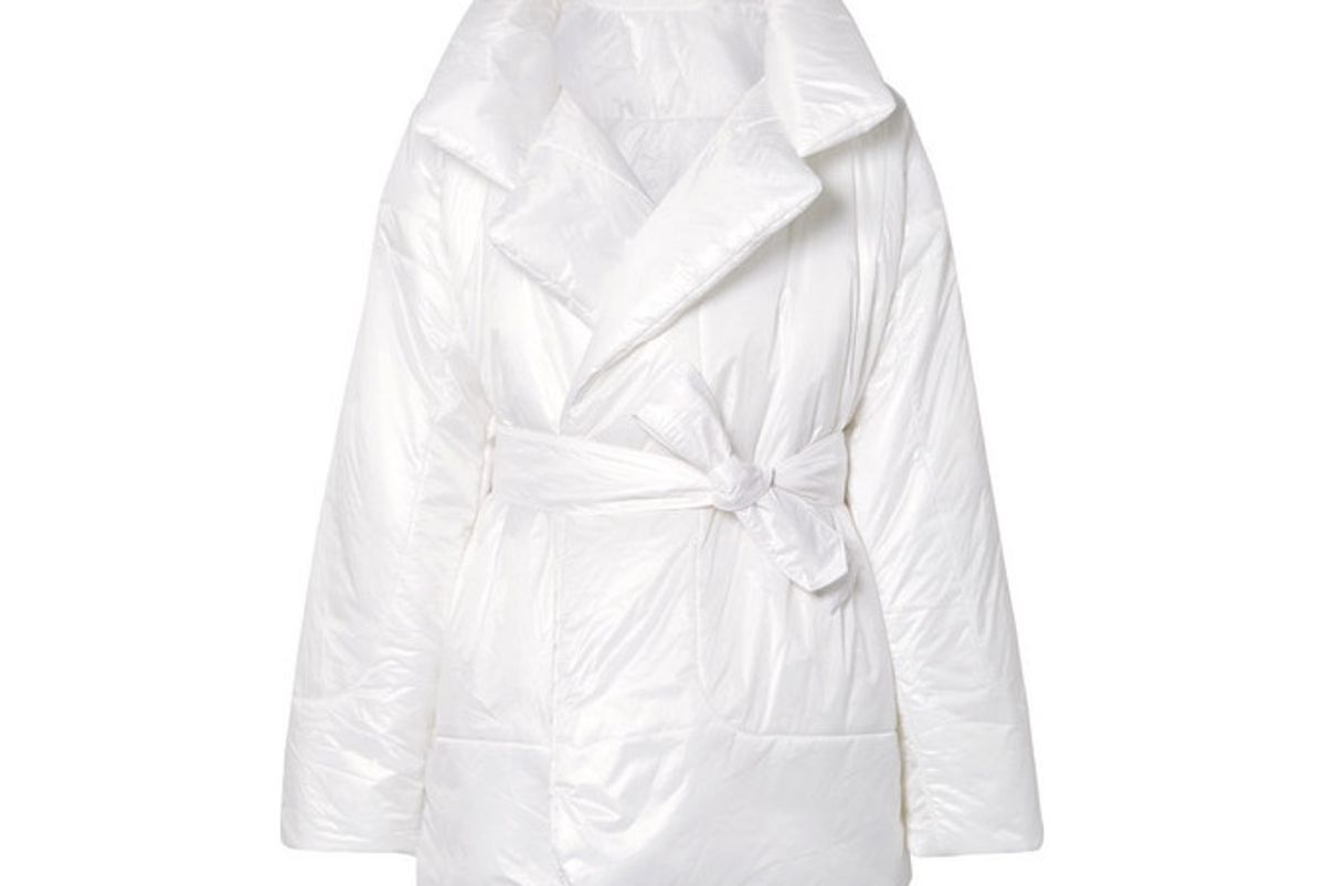 norma kamali sleeping bag oversized belted quilted shell coat