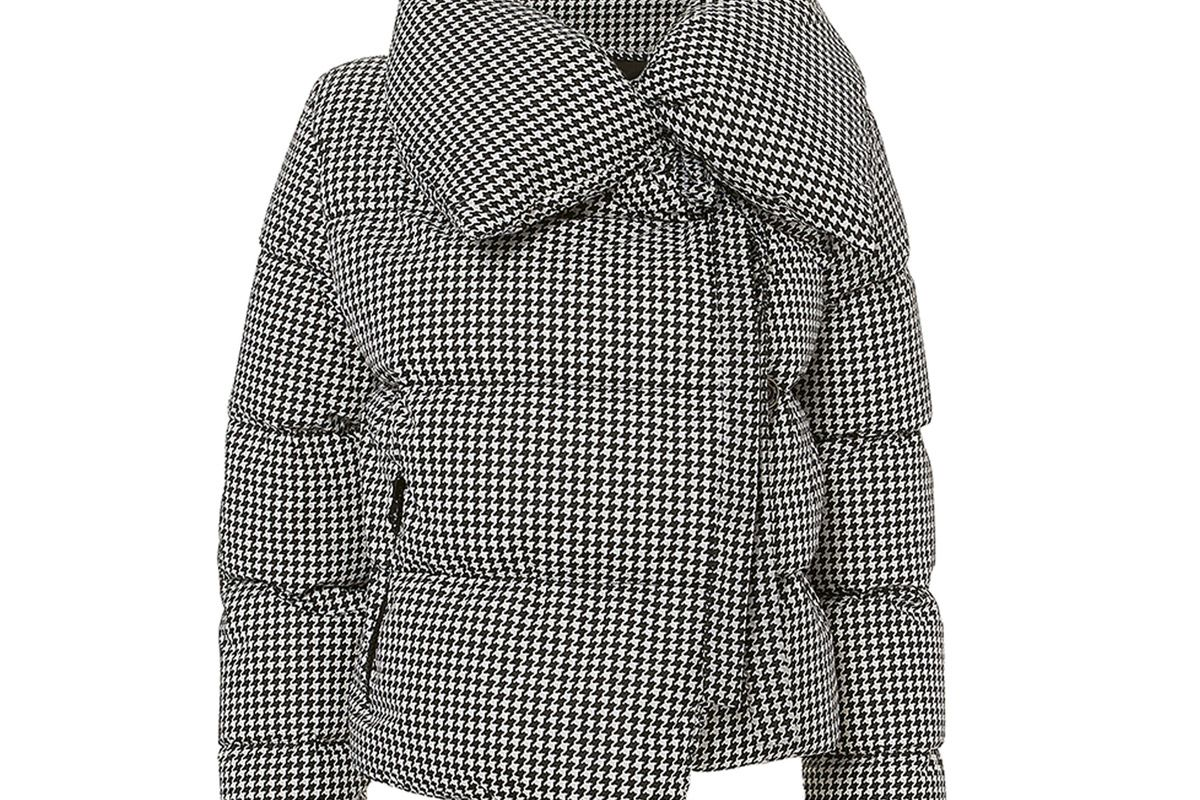 bacon houndstooth puffer jacket