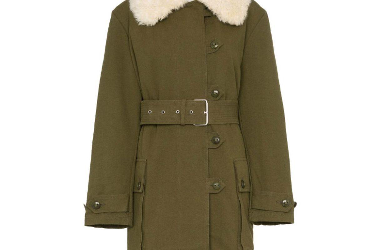 proenza schouler faux fur collar belted military coat