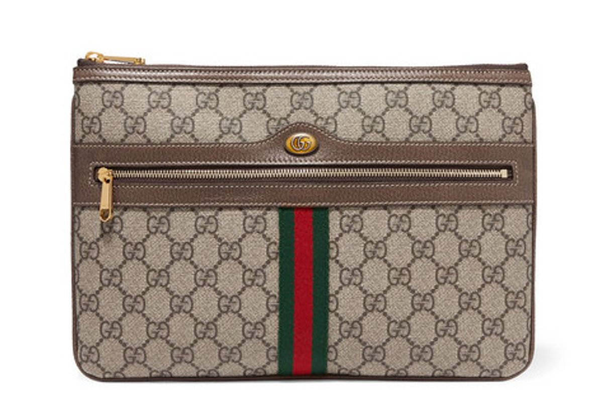 gucci ophidia medium textured leather trimmed printed coated canvas pouch
