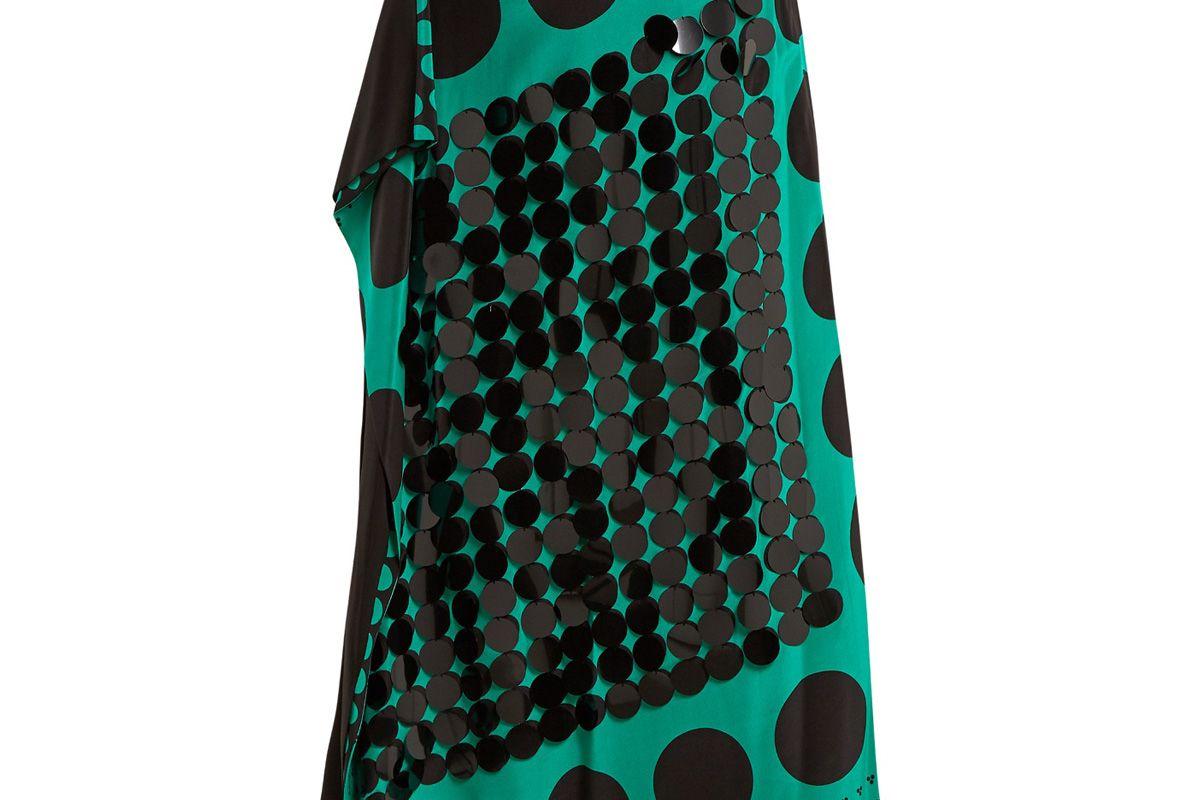 Sequin-Embellished Polka-Dot Print Silk Skirt