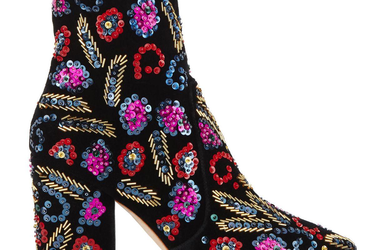 Isla Sequin-Embroidered Block-Heel Bootie