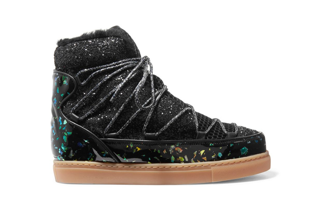 sophia webster quentin glittered leather shearling and mesh snow boots