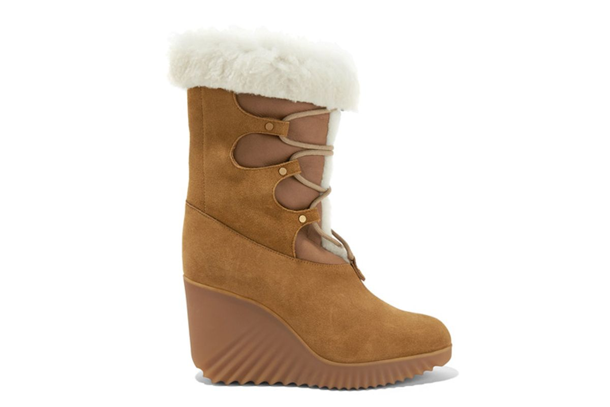 chloe shearling trimmed suede wedge boots