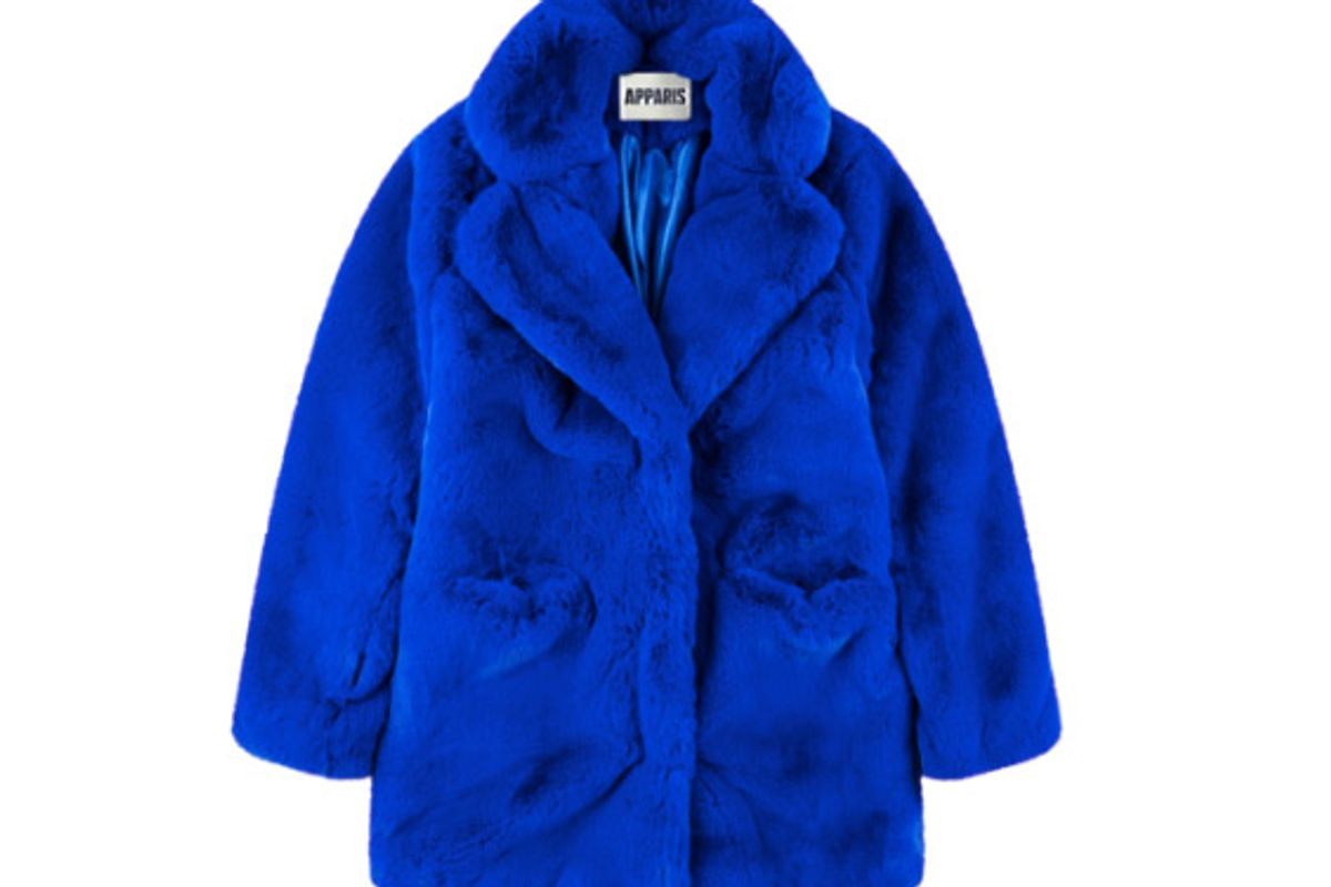 sophie cobalt faux fur coat