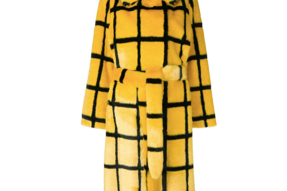 stand faux fur coat