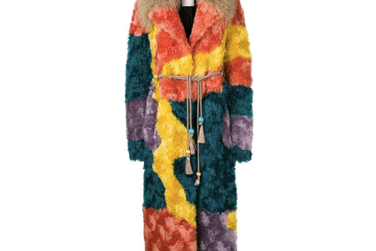 peter pilotto multicoloured shearling coat