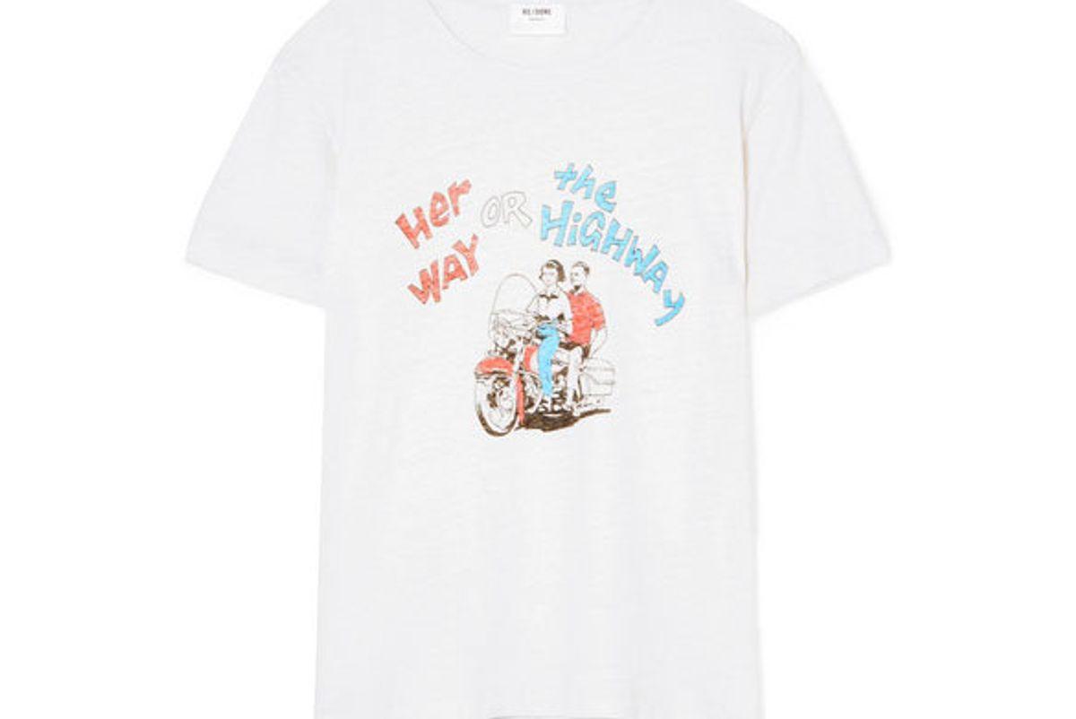 redone printed cotton jersey tshirt