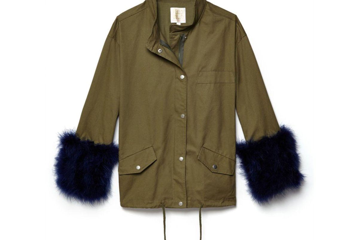 pello bello feather cotton utility jacket