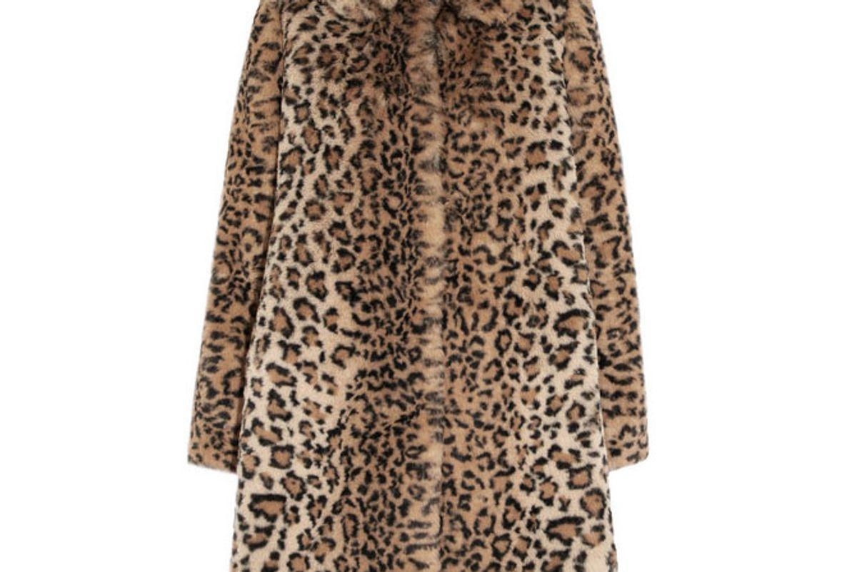 alice and olivia kinsley oversized leopard print faux fur coat