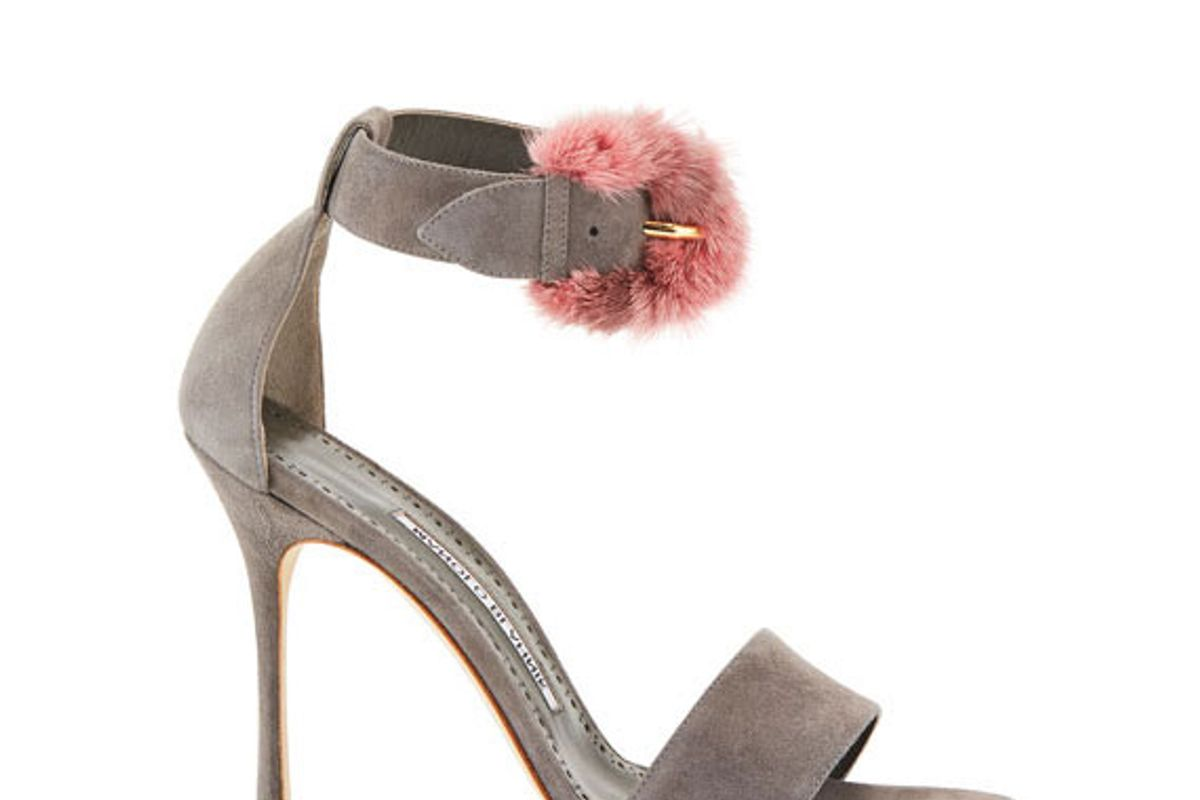 manolo blahnik trespola fur trim dorsay sandal