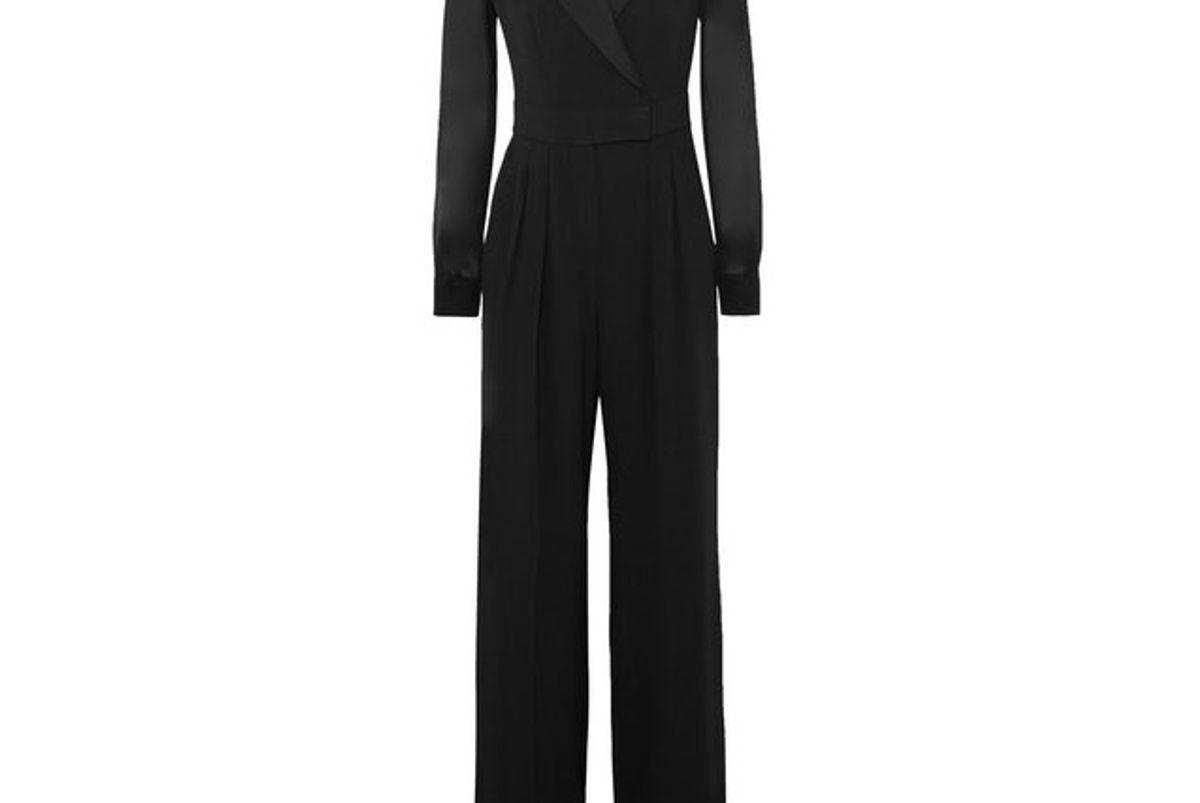 max mara silk chiffon paneled crepe jumpsuit