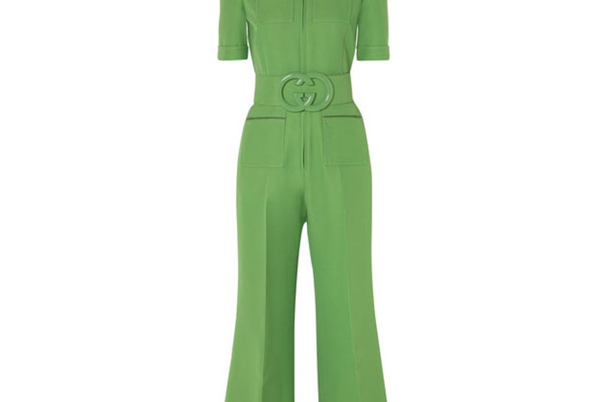 gucci belted wool and silk blend cady jumpsuit