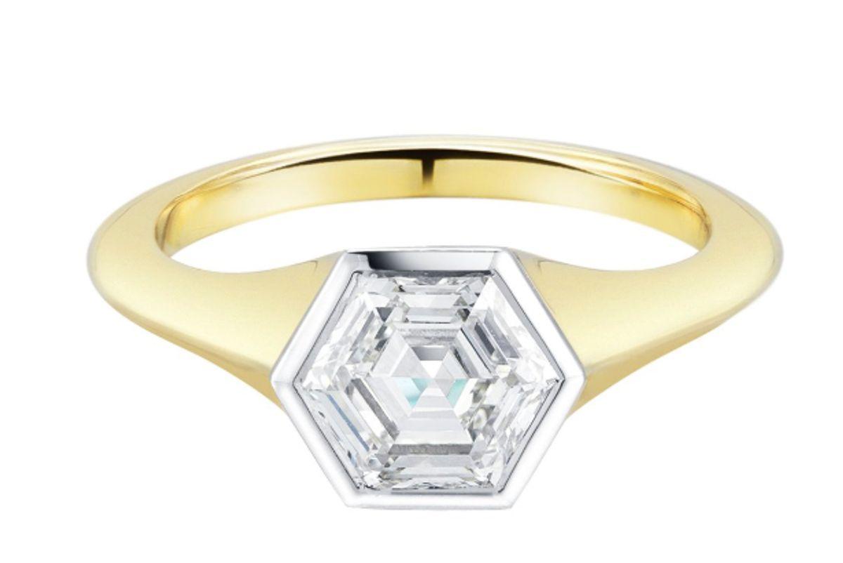finn jewelry hexago nrose cut diamond engagement ring