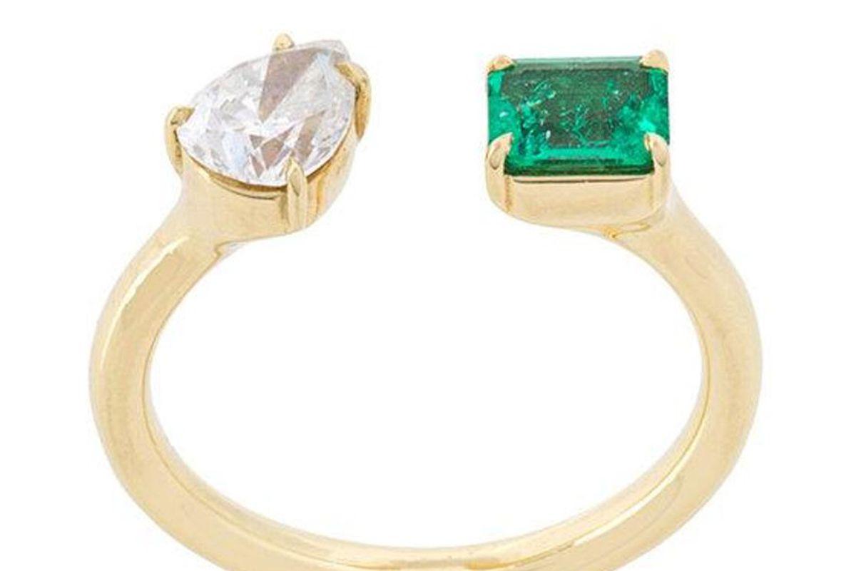 jemma wynne prive diamond and emerald open ring