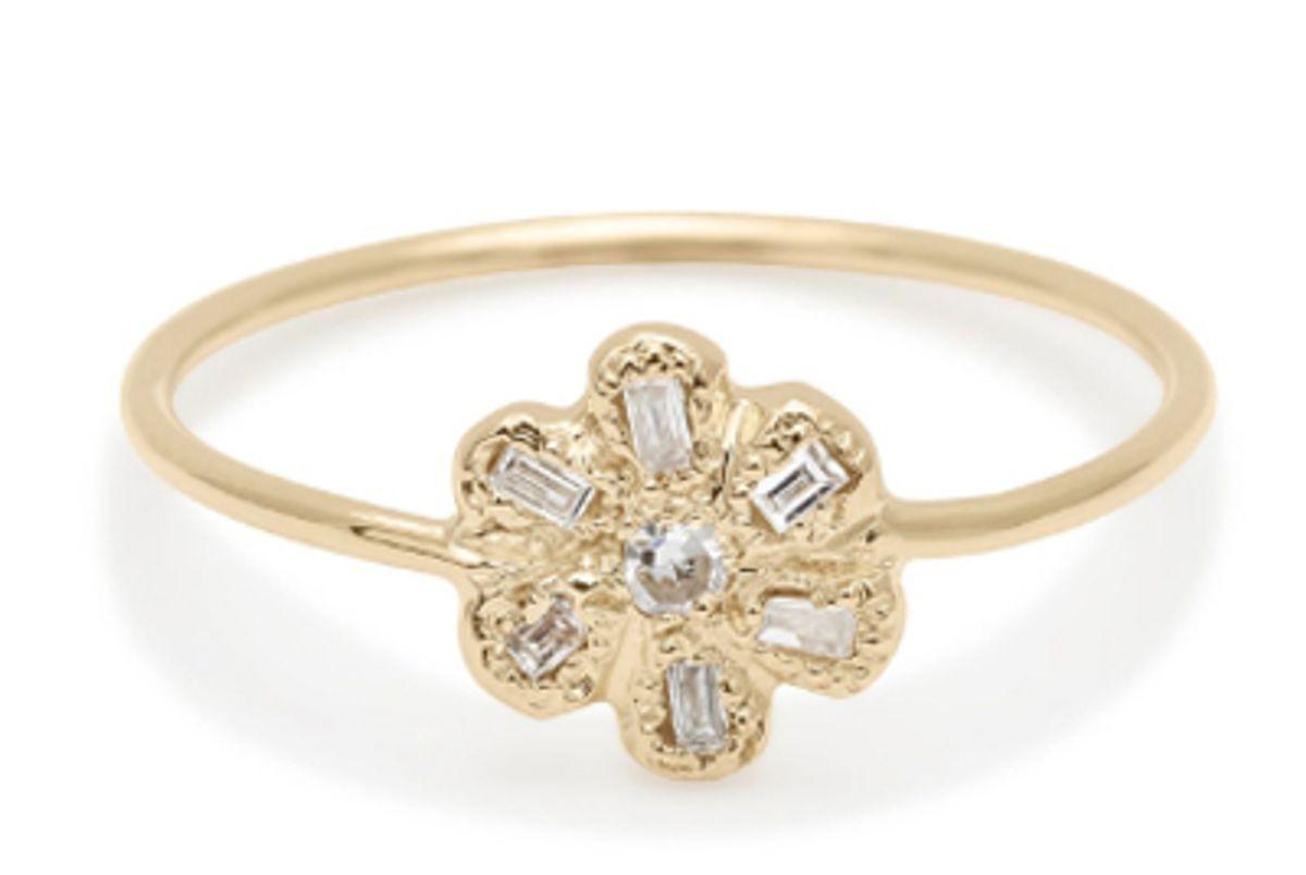 elisa solomon diamond baguette petal daisy ring