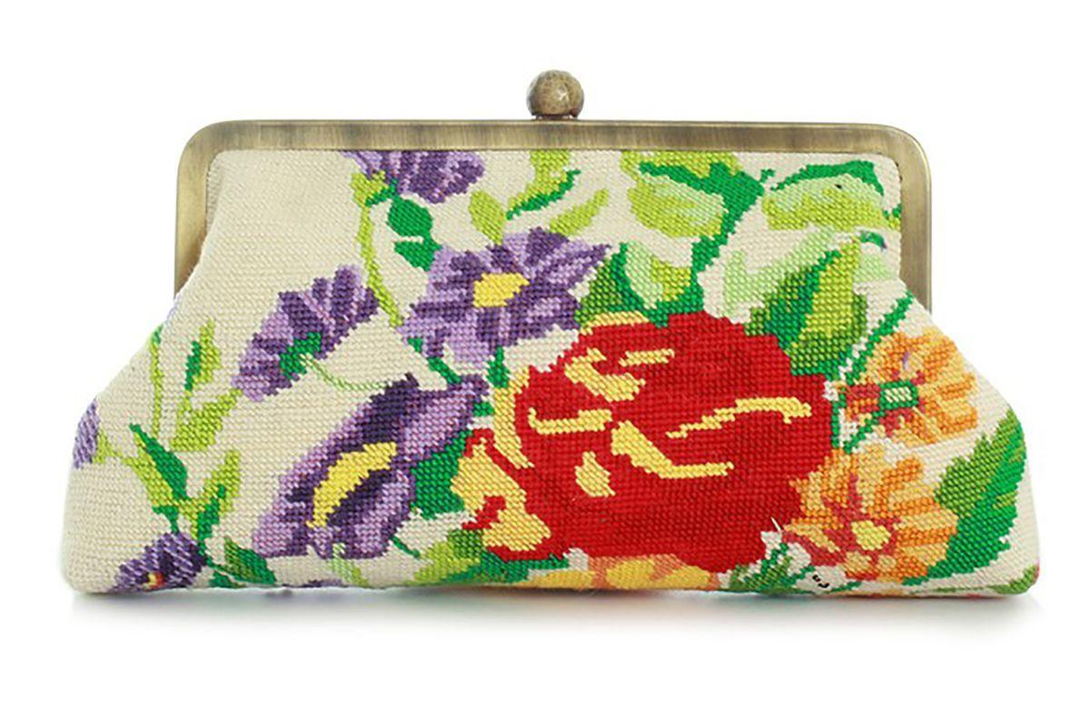 Clutch Classic flower canvas beige