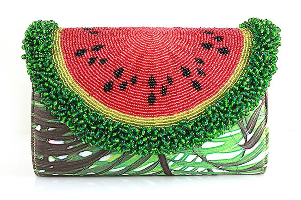 Mini curved watermelon palm clutch