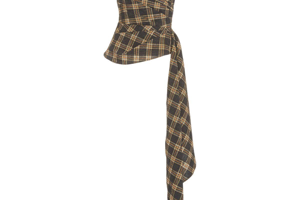 veronica beard selima draped plaid cotton blend straples top