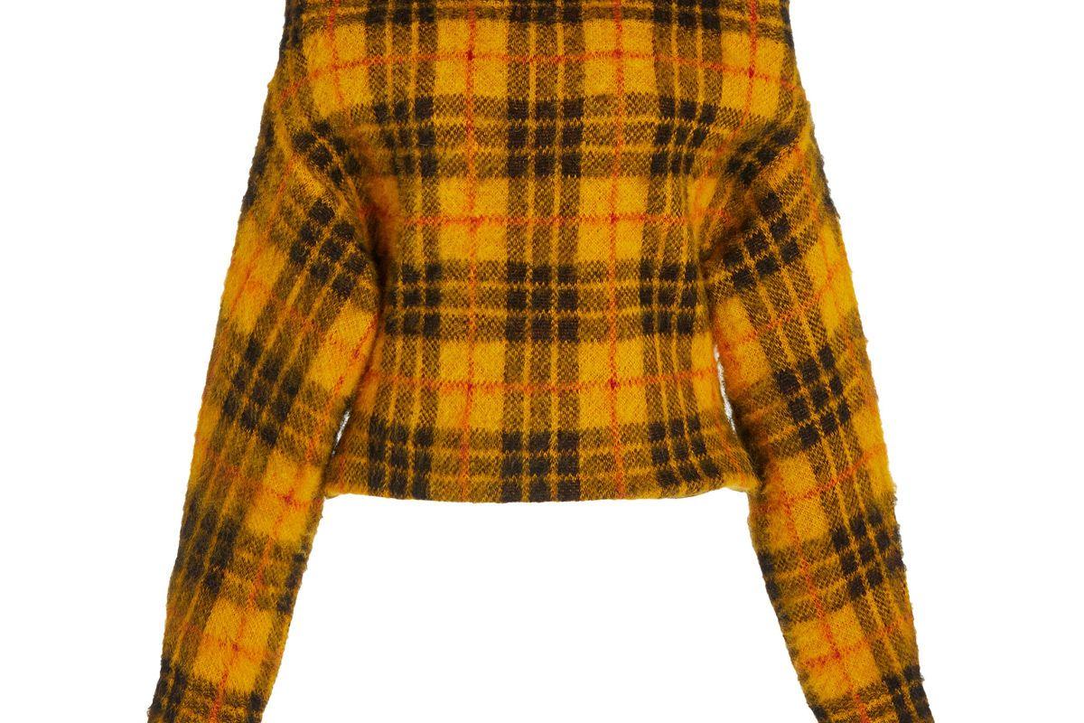 monse tartan plaid off the shoulder sweater