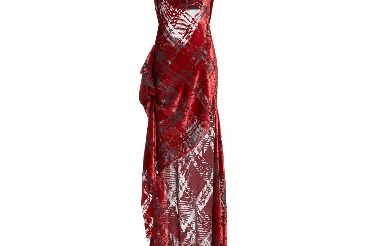 monse plaid velvet devore slip gown