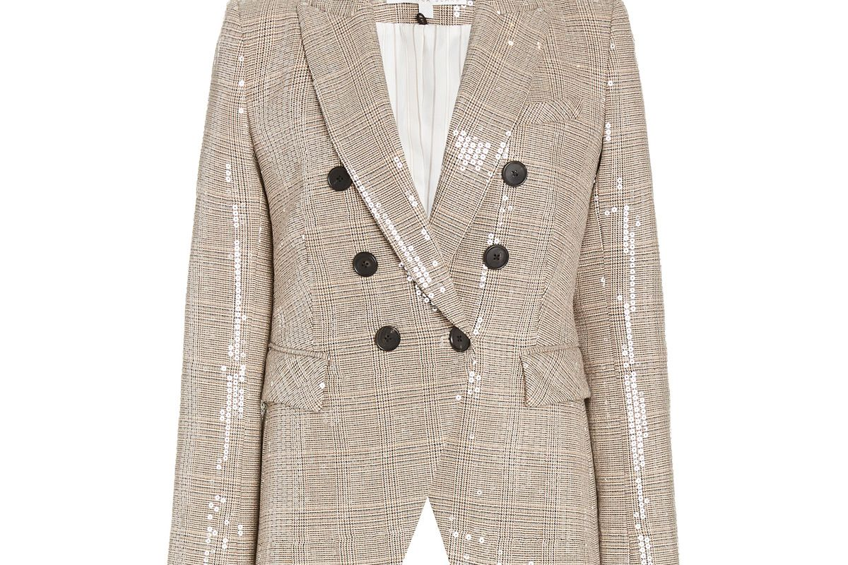 veronoica beard miller sequined plaid double breasted blazer