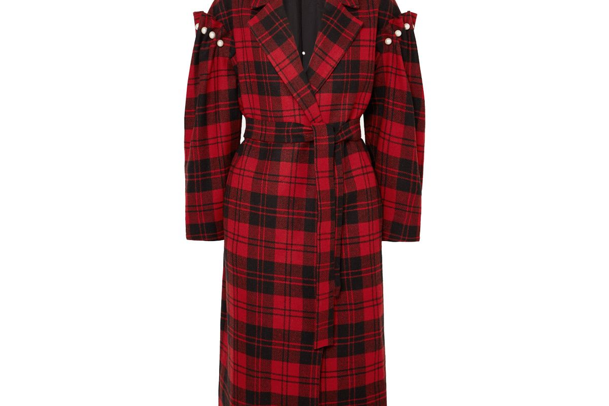mother of pearl net sustain webb belted faux pearl embellished checked wool coat