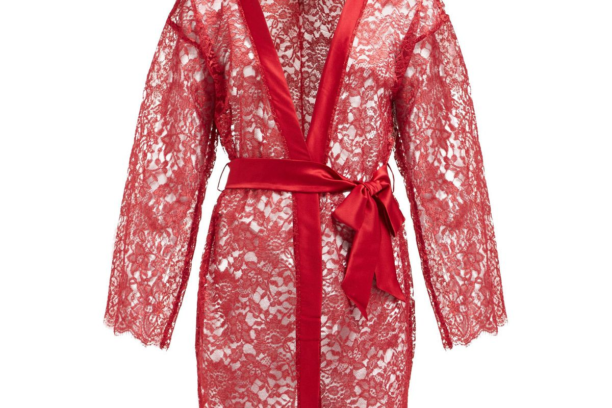 coco de mer venus semi sheer lace robe