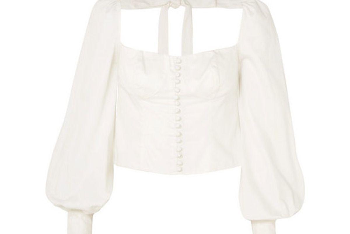 orseund iris victorian button embellished pima cotton sateen blouse