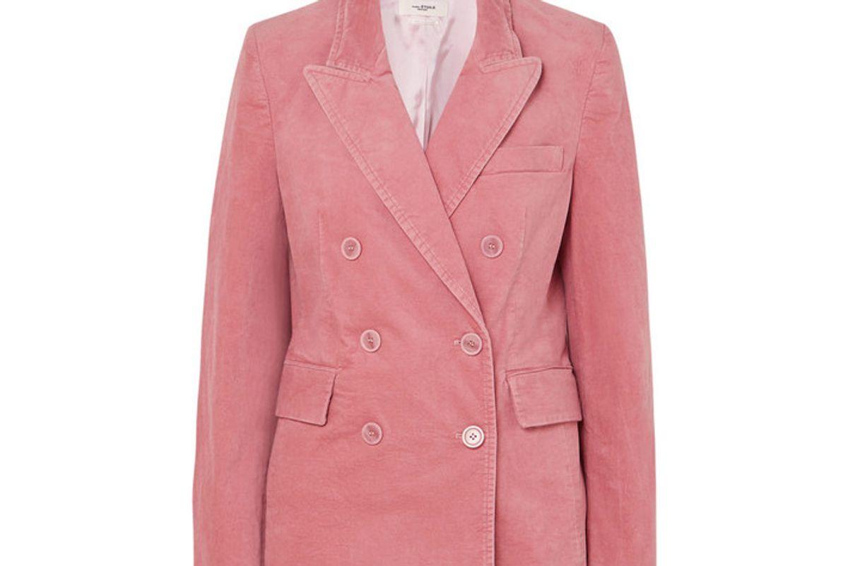 isabel marant etoile alsey double breasted stretch cotton velvet blazer