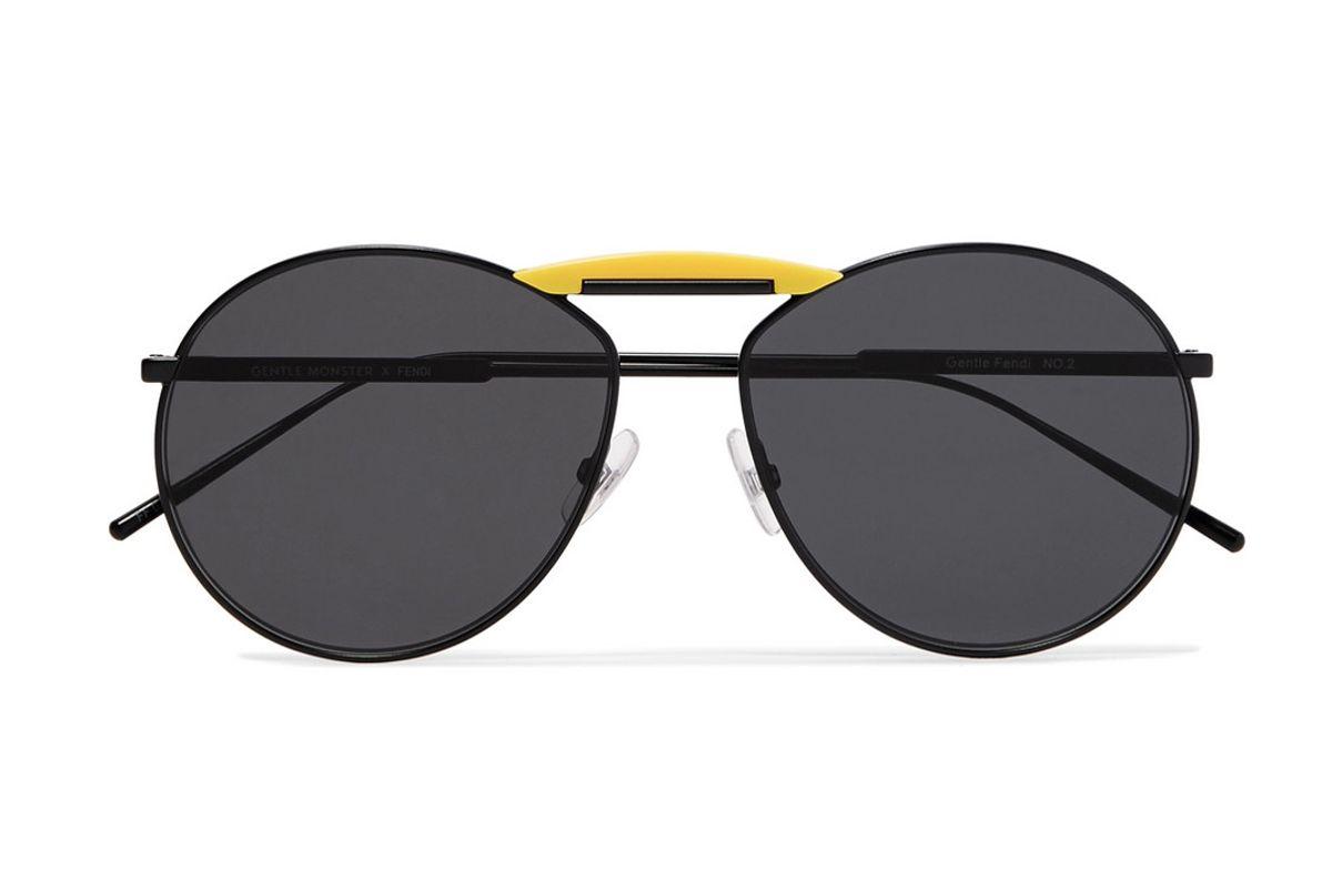 fendi gentle fendi aviator style metal mirrored sunglasses
