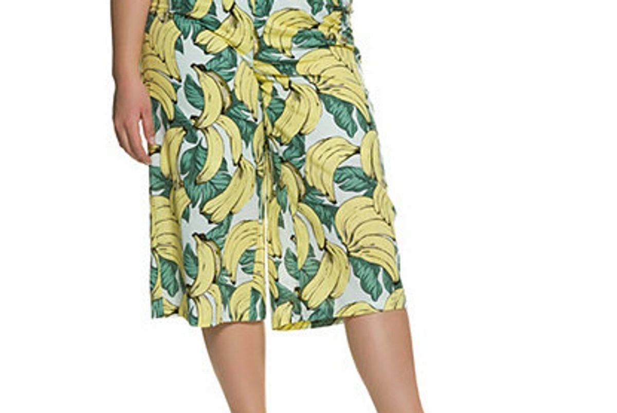 Banana Print Elastic Waist Cotton Culottes