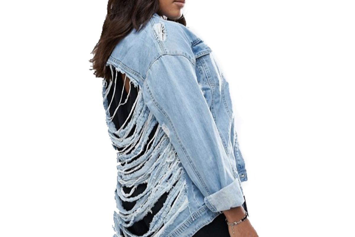 Plus Shredded Denim Jacket