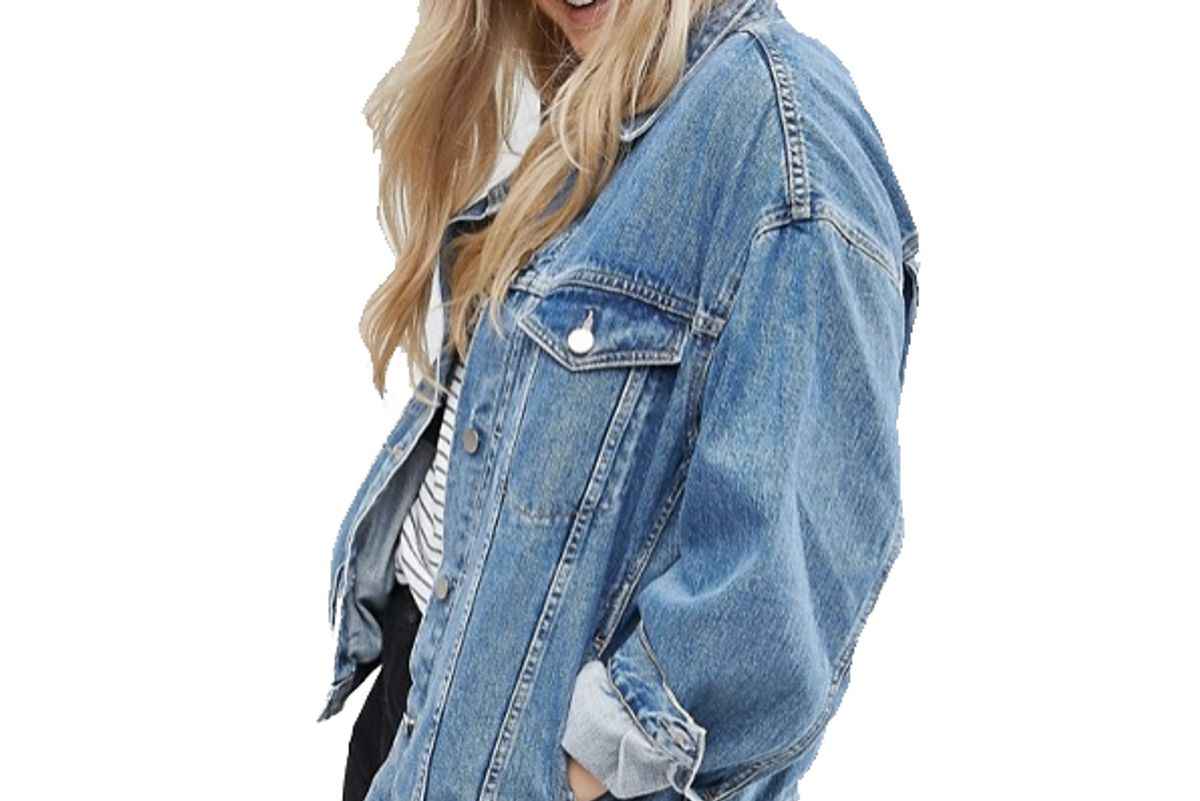 Curve Denim Girlfriend Jacket in Midwash Blue
