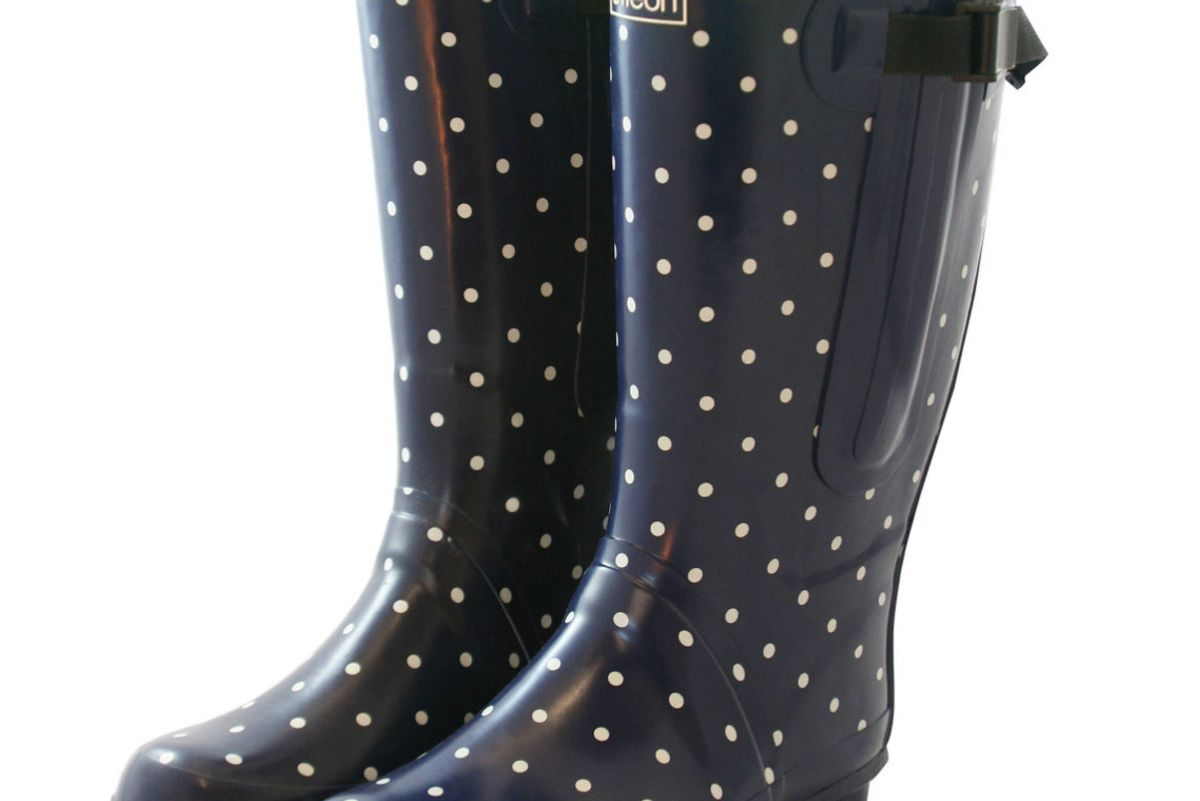 Extra Wide Fit Navy Blue with White Spots Wellies