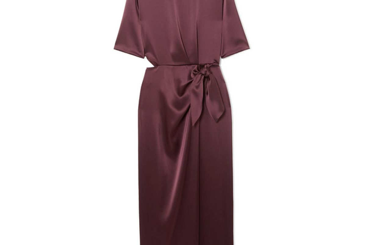 nanushka saffron cutout satin midi dress