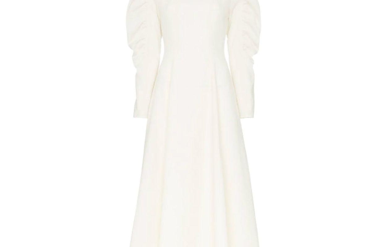 rejina pyo draped sleeve flared crepe dress