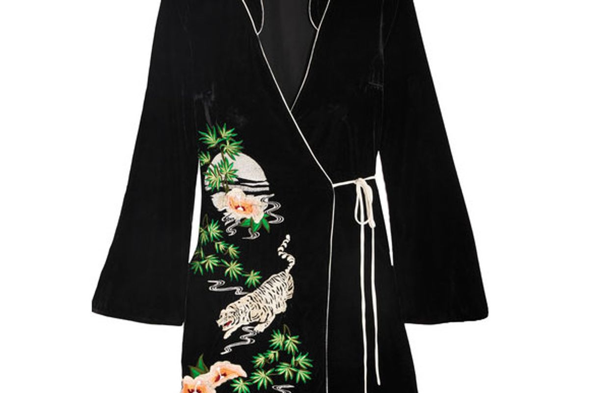 Iris Embroidered Velvet Wrap Dress
