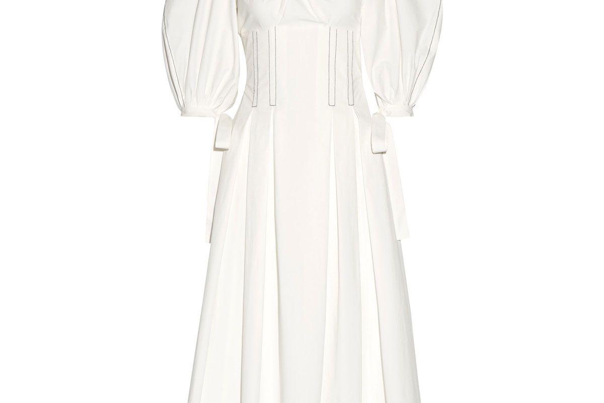 Greta Pleated Stretch-Cotton Poplin Midi Dress