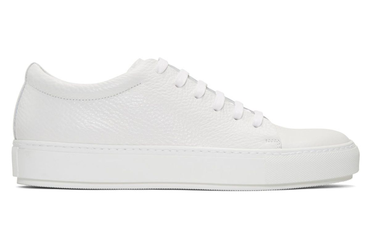 White Adrian Grain Sneakers
