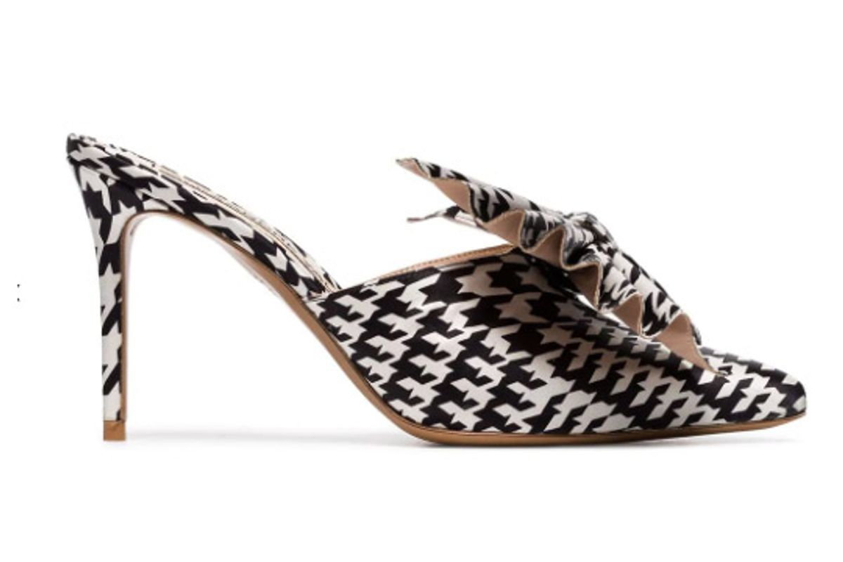 alexandre vauthier black and white kate 90 houndstooth print bow embellished mules