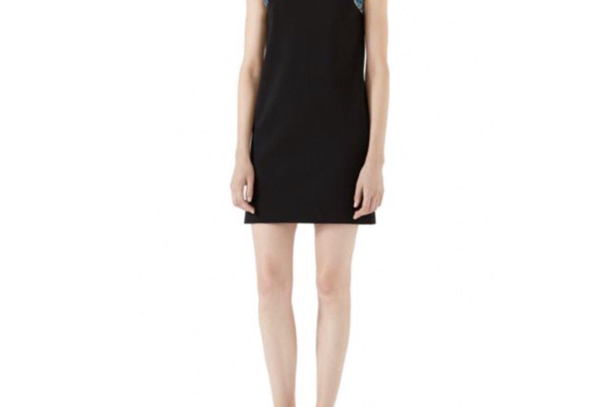 Crystal-Embellished Velvet Bow Shift Dress