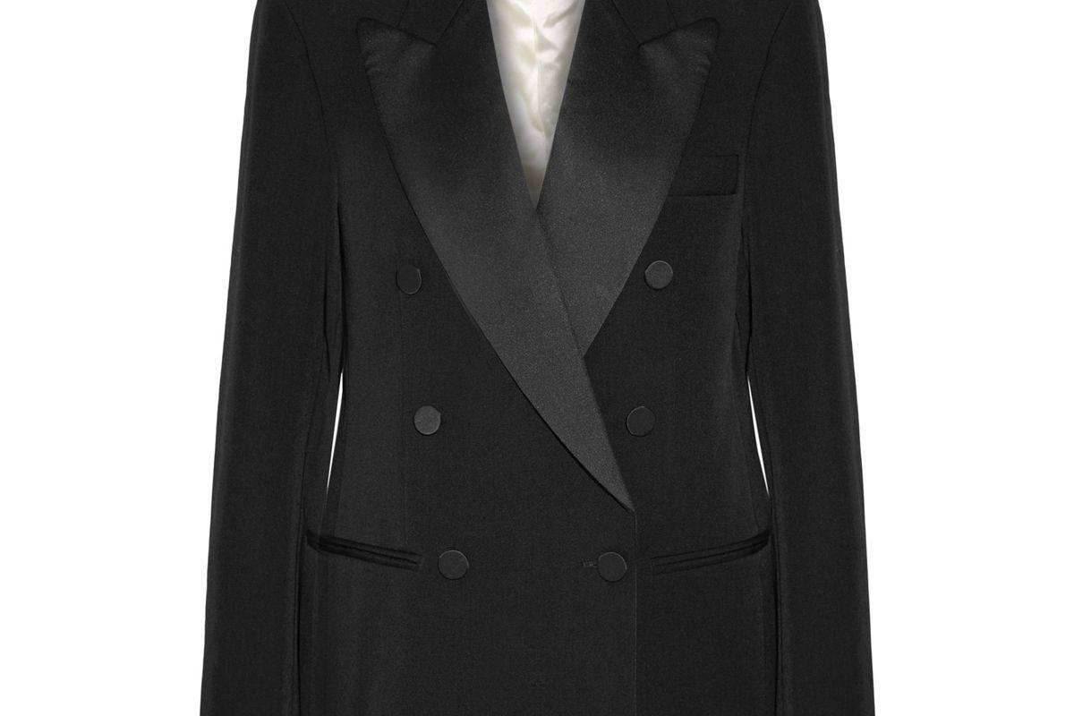 Oversized Satin-Trimmed Wool-Twill Blazer