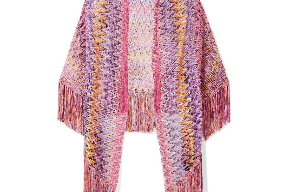 Fringed Crochet-Knit Wrap